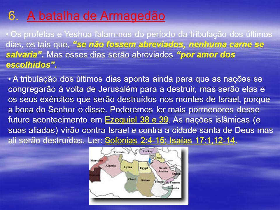 6. 6.A batalha de Armagedão Os profetas e Yeshua falam-nos do período da tribulação dos últimos dias, os tais que, se não fossem abreviados, nenhuma c