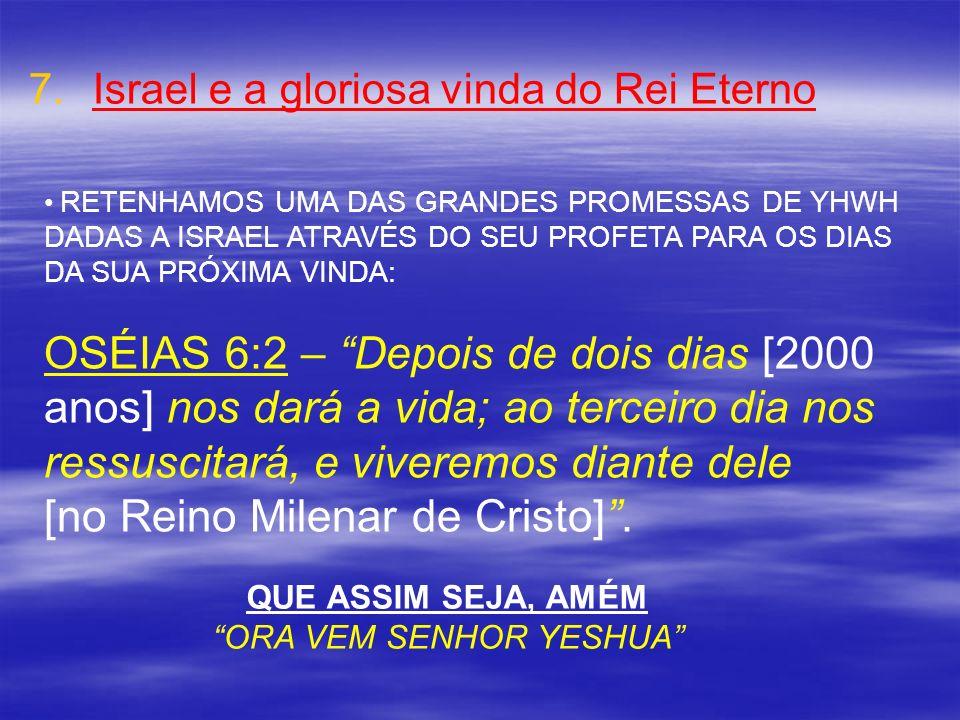 7. 7.Israel e a gloriosa vinda do Rei Eterno RETENHAMOS UMA DAS GRANDES PROMESSAS DE YHWH DADAS A ISRAEL ATRAVÉS DO SEU PROFETA PARA OS DIAS DA SUA PR
