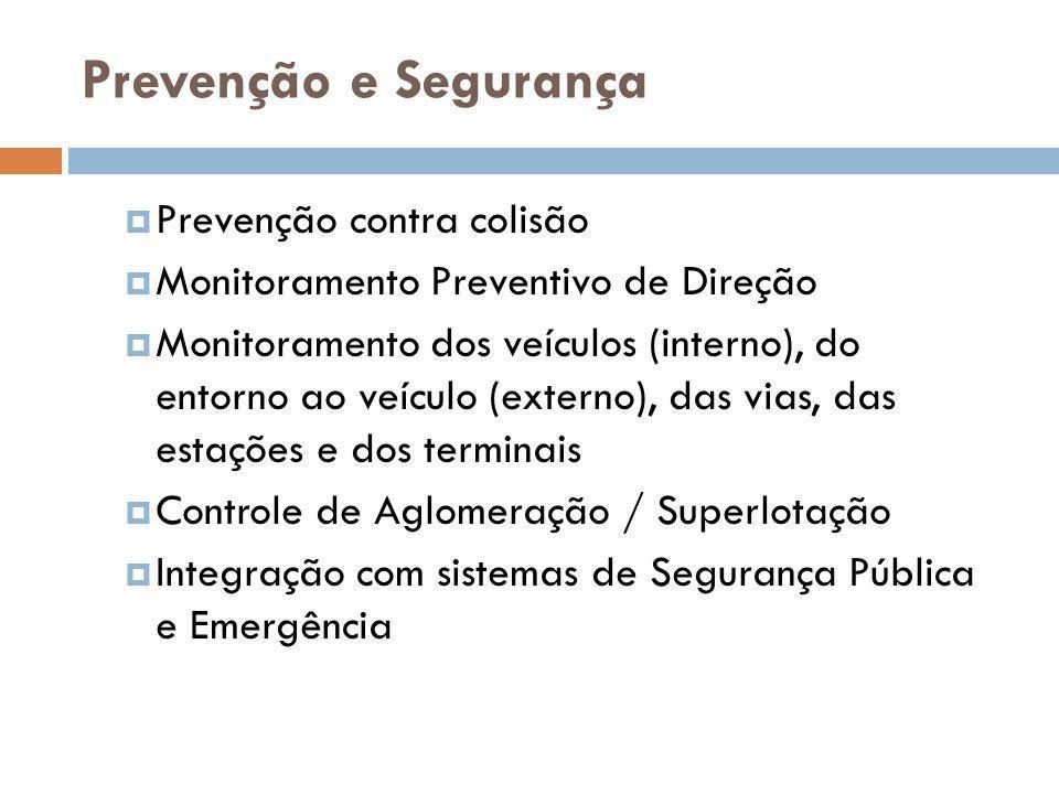 Prevenção e Segurança Prevenção contra colisão Monitoramento Preventivo de Direção Monitoramento dos veículos (interno), do entorno ao veículo (extern