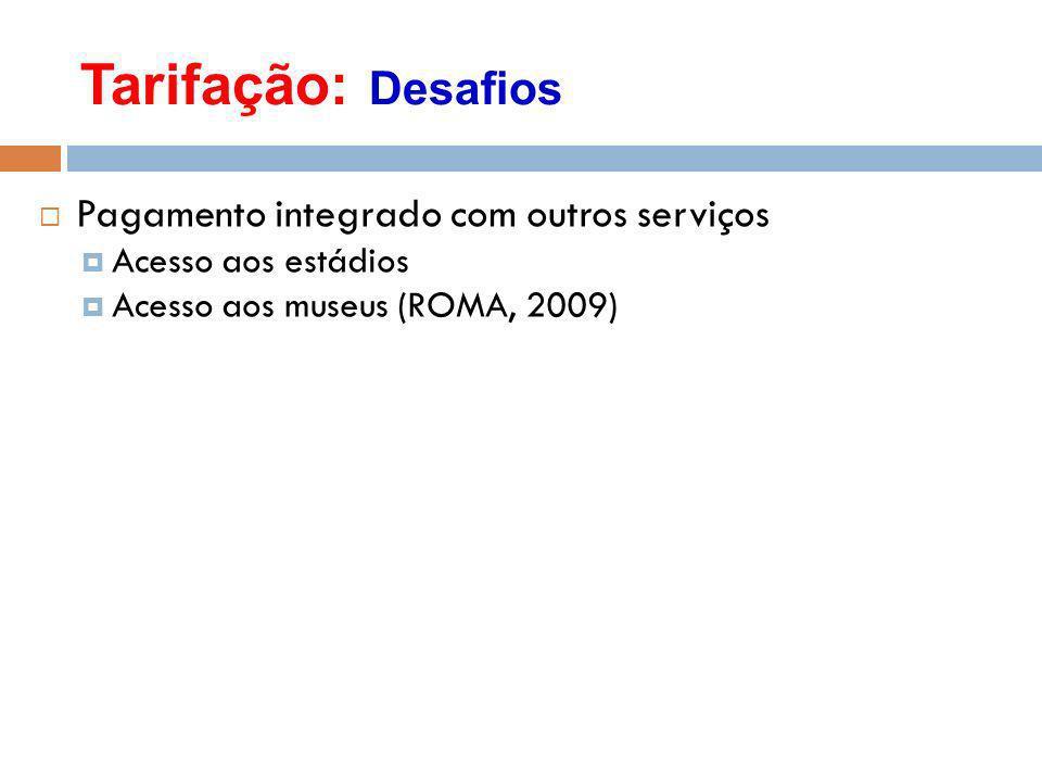 Tarifação: Desafios Pagamento integrado com outros serviços Acesso aos estádios Acesso aos museus (ROMA, 2009)