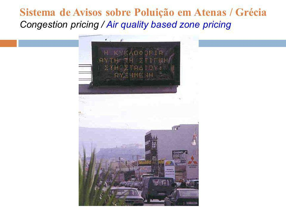 Sistema de Avisos sobre Poluição em Atenas / Grécia Congestion pricing / Air quality based zone pricing
