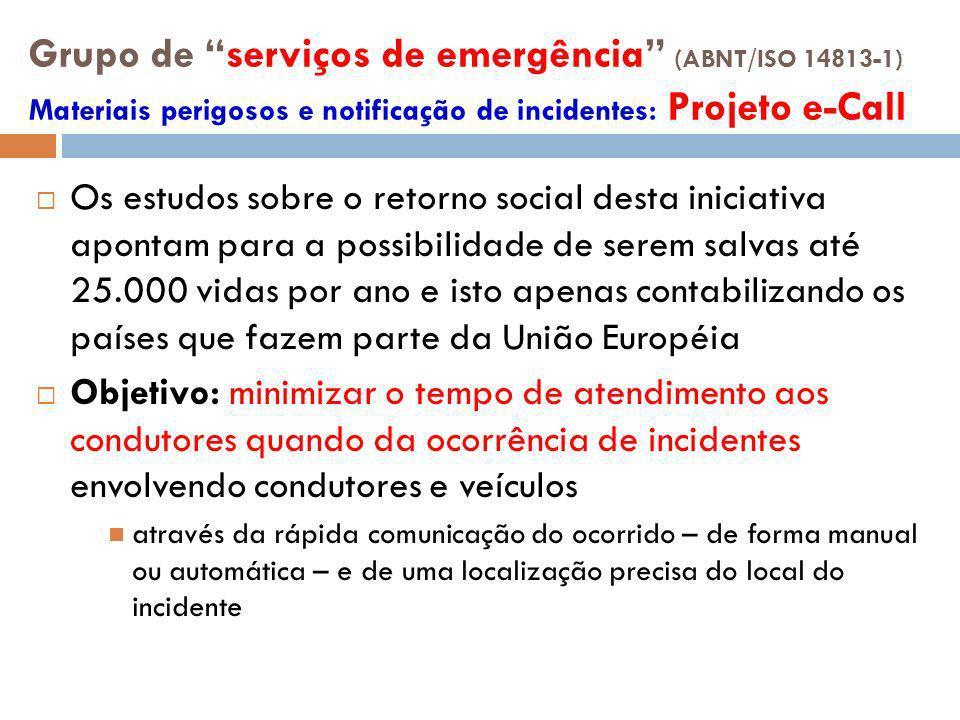 Grupo de serviços de emergência (ABNT/ISO 14813-1) Materiais perigosos e notificação de incidentes: Projeto e-Call Os estudos sobre o retorno social d
