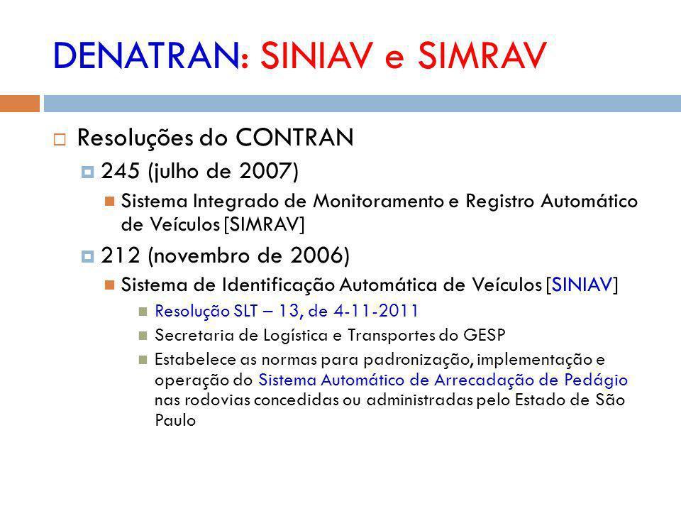 DENATRAN: SINIAV e SIMRAV Resoluções do CONTRAN 245 (julho de 2007) Sistema Integrado de Monitoramento e Registro Automático de Veículos [SIMRAV] 212