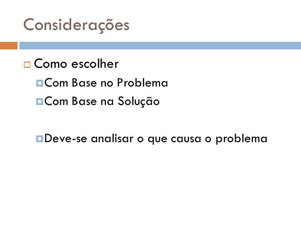 Considerações Como escolher Com Base no Problema Com Base na Solução Deve-se analisar o que causa o problema