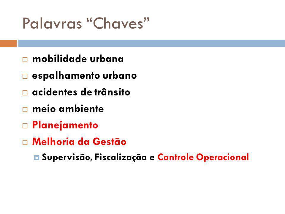 Palavras Chaves mobilidade urbana espalhamento urbano acidentes de trânsito meio ambiente Planejamento Melhoria da Gestão Supervisão, Fiscalização e C