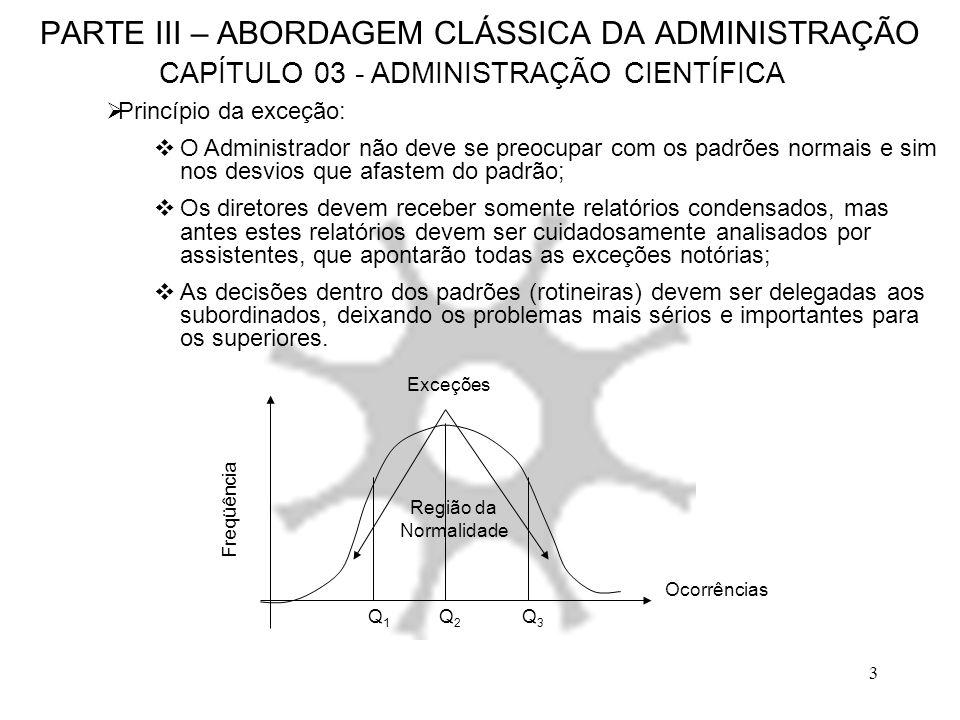 4 PARTE III – ABORDAGEM CLÁSSICA DA ADMINISTRAÇÃO CAPÍTULO 03 - ADMINISTRAÇÃO CIENTÍFICA Harrington Emerson (1864-1945): Precursor da Administração por objetivo; A visão organizacional para a Administração Científica; A predeterminação dos resultados é a principal característica do novo método; A aceitação do acaso é a principal característica do velho método; Os doze princípios da eficiência de Emerson (1912): Ideais: Objetivos claramente definidos por toda organização; Bom senso: Administrar é, antes de tudo, uma questão de bom senso; Competência: O sucesso da organização está veiculada à capacidade de organizar a busca de conselhos competentes; Disciplina: A noção de responsabilidade de cada empregado; Justiça social no trabalho: Salários e condições de trabalho justos; Registros confiáveis, imediatos e permanentes: Definia um sistema de informações que pudesse fornecer informações à nível gerencial de forma eficaz (sem erros, rápidos e disponíveis a qualquer momento); Despacho: A empresa toda era suscetível de uma programação e controle;