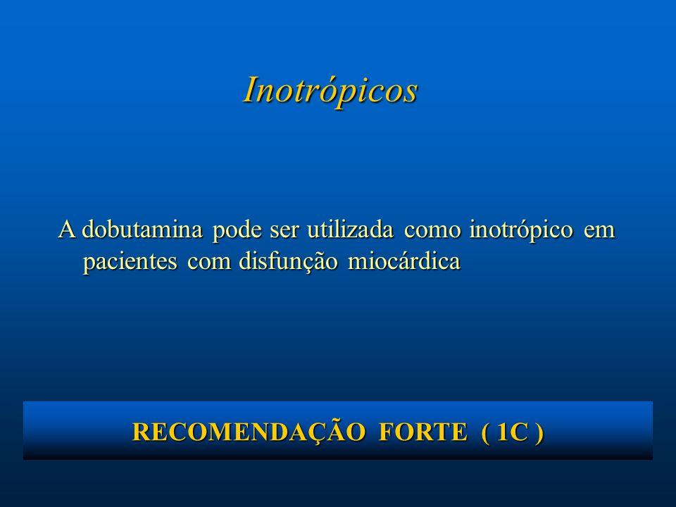 Inotrópicos A dobutamina pode ser utilizada como inotrópico em pacientes com disfunção miocárdica RECOMENDAÇÃO FORTE ( 1C )