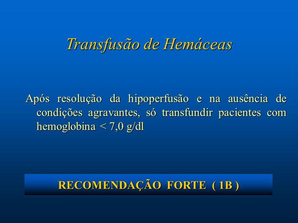 Transfusão de Hemáceas Após resolução da hipoperfusão e na ausência de condições agravantes, só transfundir pacientes com hemoglobina < 7,0 g/dl RECOM