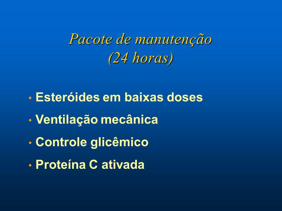 Esteróides em baixas doses Ventilação mecânica Controle glicêmico Proteína C ativada Pacote de manutenção (24 horas)