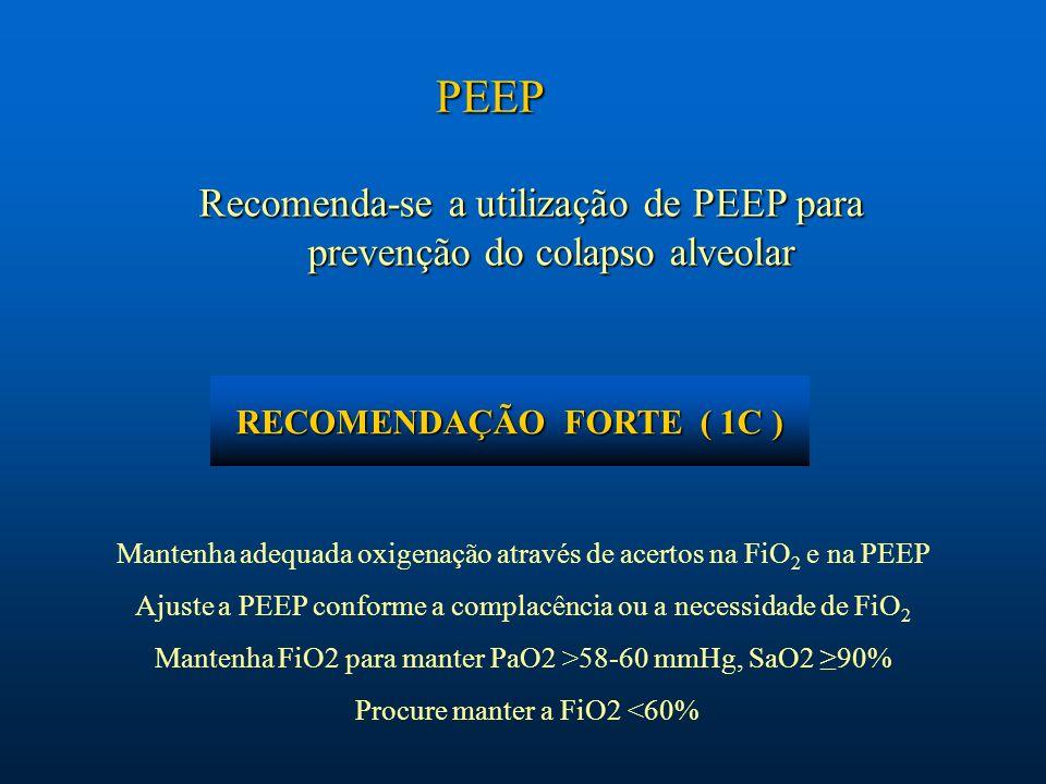 Recomenda-se a utilização de PEEP para prevenção do colapso alveolar PEEP Mantenha adequada oxigenação através de acertos na FiO 2 e na PEEP Ajuste a
