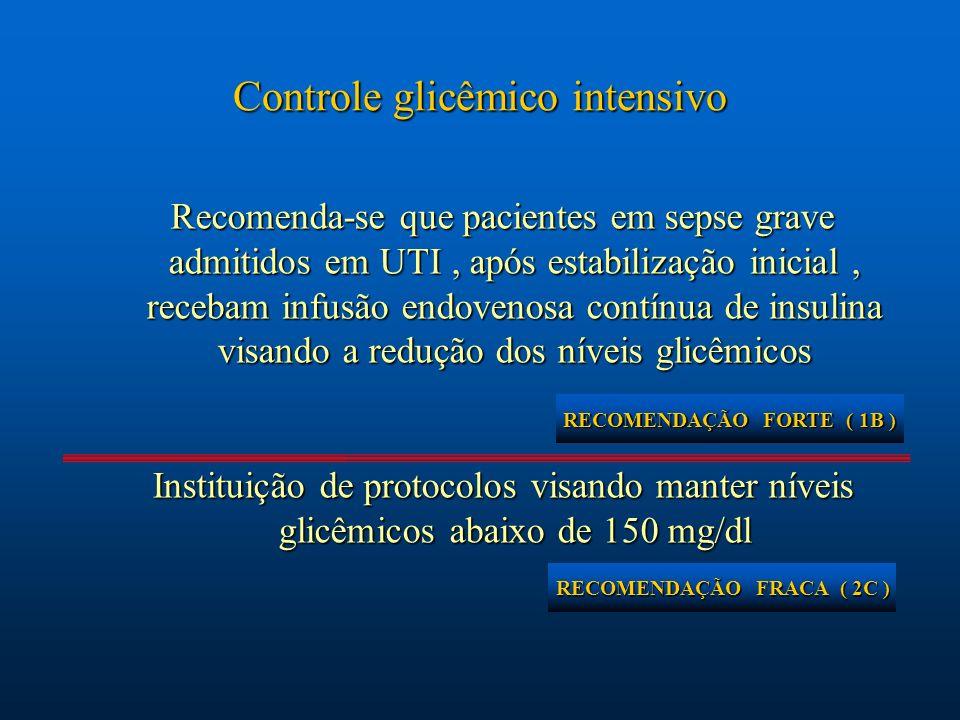Controle glicêmico intensivo Recomenda-se que pacientes em sepse grave admitidos em UTI, após estabilização inicial, recebam infusão endovenosa contín