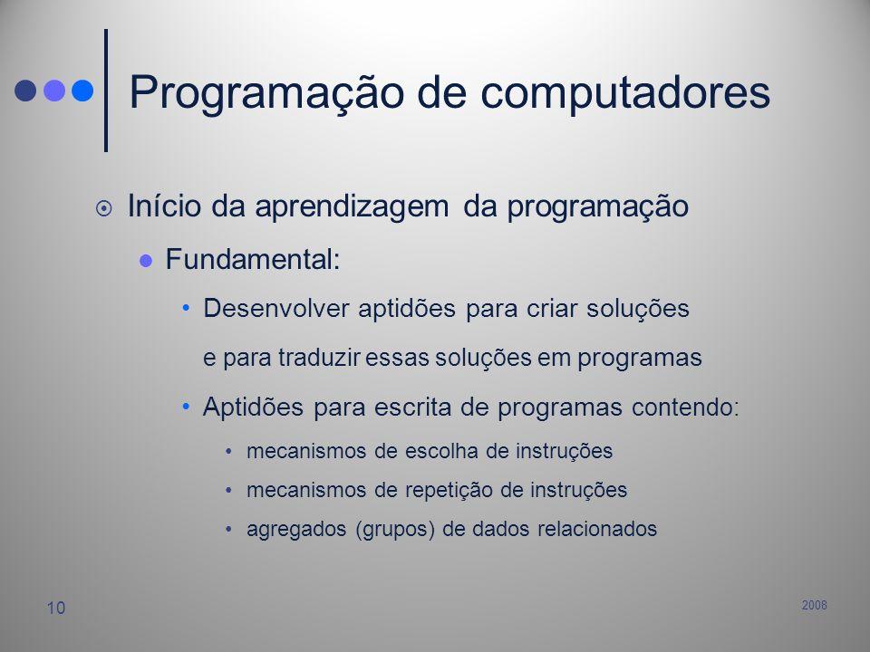 2008 10 Programação de computadores Início da aprendizagem da programação Fundamental: Desenvolver aptidões para criar soluções e para traduzir essas