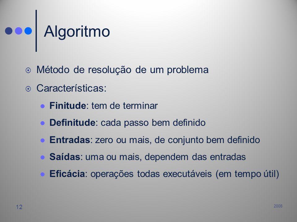 2008 12 Algoritmo Método de resolução de um problema Características: Finitude: tem de terminar Definitude: cada passo bem definido Entradas: zero ou
