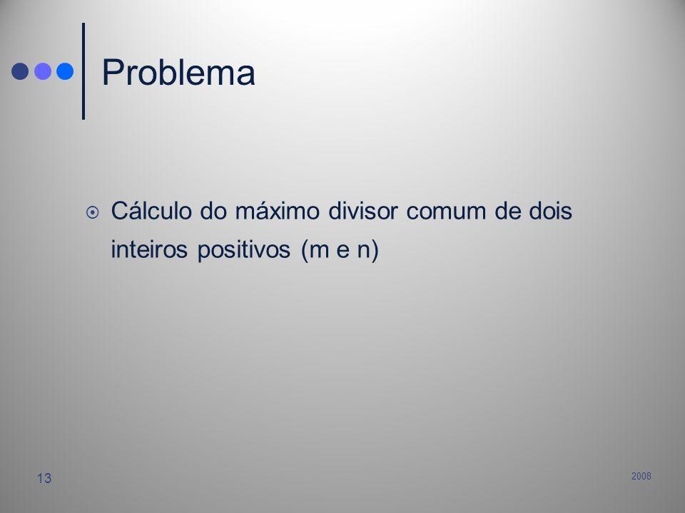 2008 13 Problema Cálculo do máximo divisor comum de dois inteiros positivos (m e n)