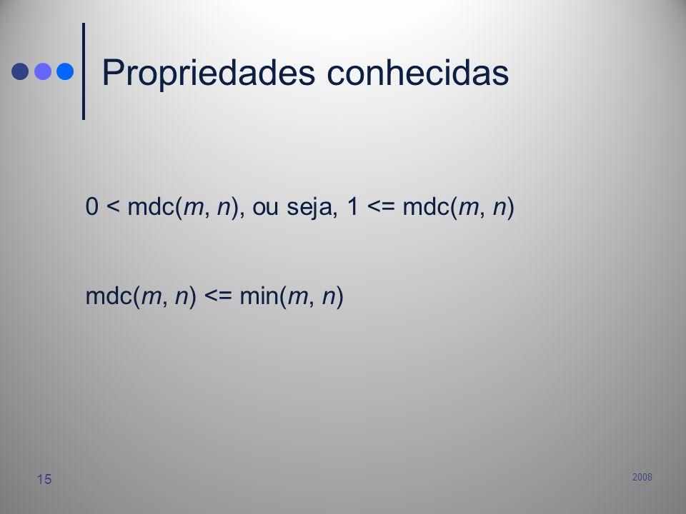 2008 15 Propriedades conhecidas 0 < mdc(m, n), ou seja, 1 <= mdc(m, n) mdc(m, n) <= min(m, n)