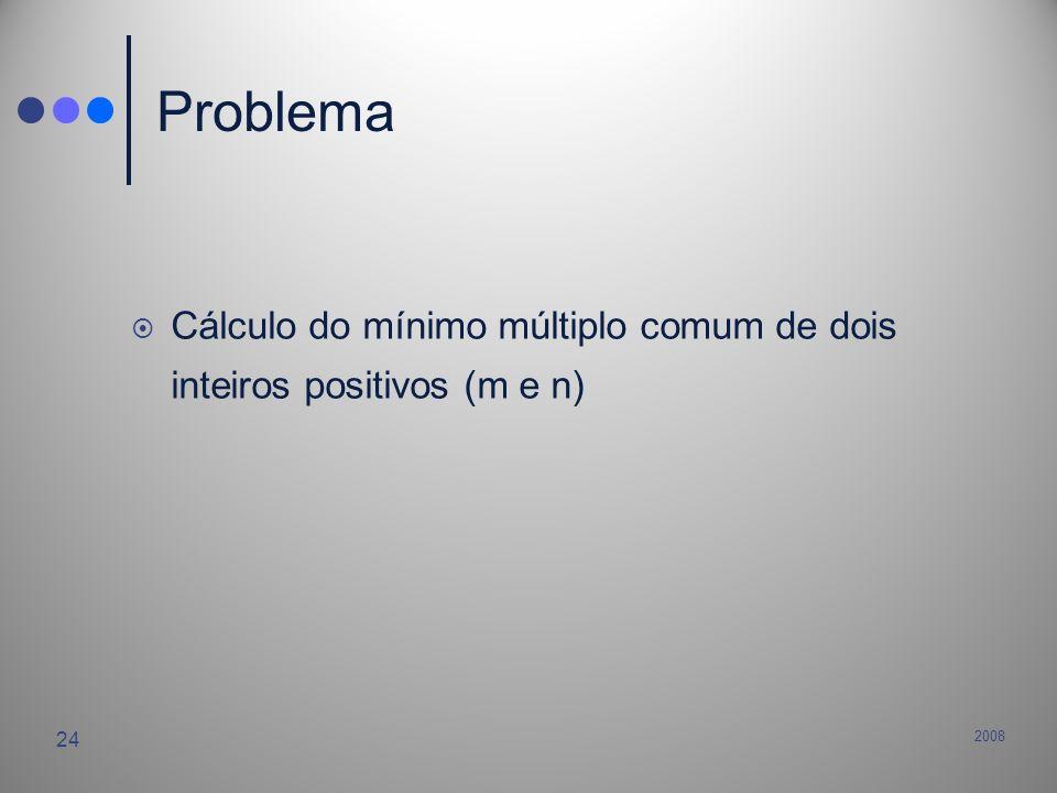 2008 24 Problema Cálculo do mínimo múltiplo comum de dois inteiros positivos (m e n)