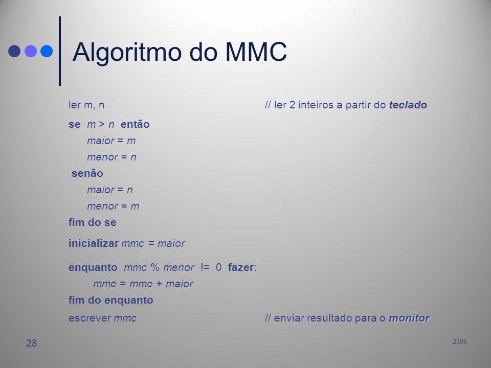 2008 28 Algoritmo do MMC teclado ler m, n// ler 2 inteiros a partir do teclado se m > n então maior = m menor = n senão maior = n menor = m fim do se