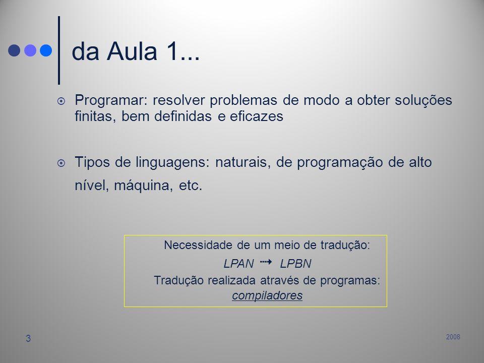 2008 3 da Aula 1... Programar: resolver problemas de modo a obter soluções finitas, bem definidas e eficazes Tipos de linguagens: naturais, de program