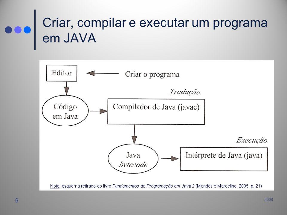 2008 7 Exemplo de programa simples em Java // Benvindo.java: Este programa mostra no ecrã // a mensagem Benvindo ao JAVA.
