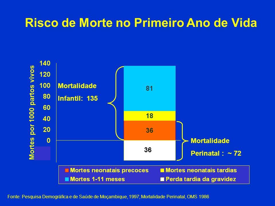 Risco de Morte no Primeiro Ano de Vida Mortalidade Perinatal : ~ 72 Mortalidade Infantil: 135 36 Fonte: Pesquisa Demográfica e de Saúde de Moçambique,