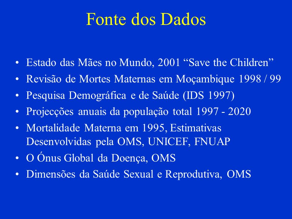 Fonte dos Dados Estado das Mães no Mundo, 2001 Save the Children Revisão de Mortes Maternas em Moçambique 1998 / 99 Pesquisa Demográfica e de Saúde (I