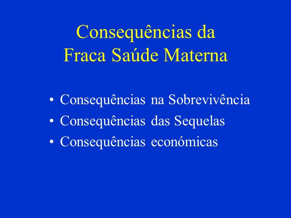 Consequências da Fraca Saúde Materna Consequências na Sobrevivência Consequências das Sequelas Consequências económicas