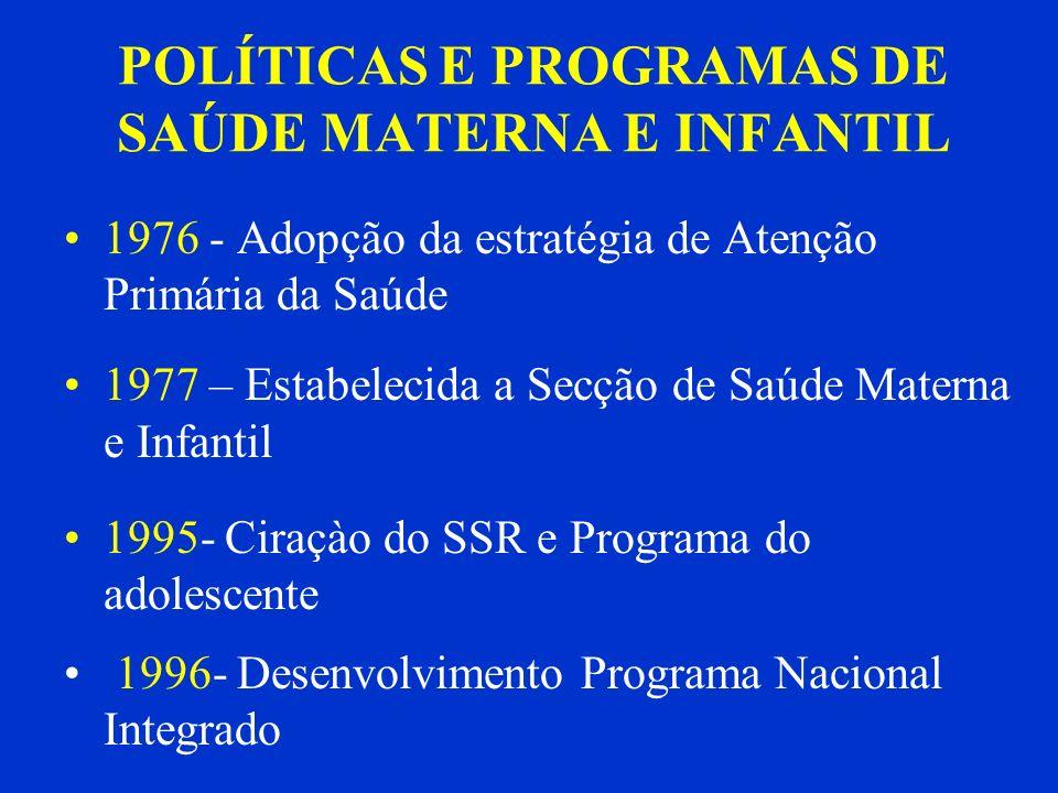 POLÍTICAS E PROGRAMAS DE SAÚDE MATERNA E INFANTIL 1976 - Adopção da estratégia de Atenção Primária da Saúde 1977 – Estabelecida a Secção de Saúde Mate
