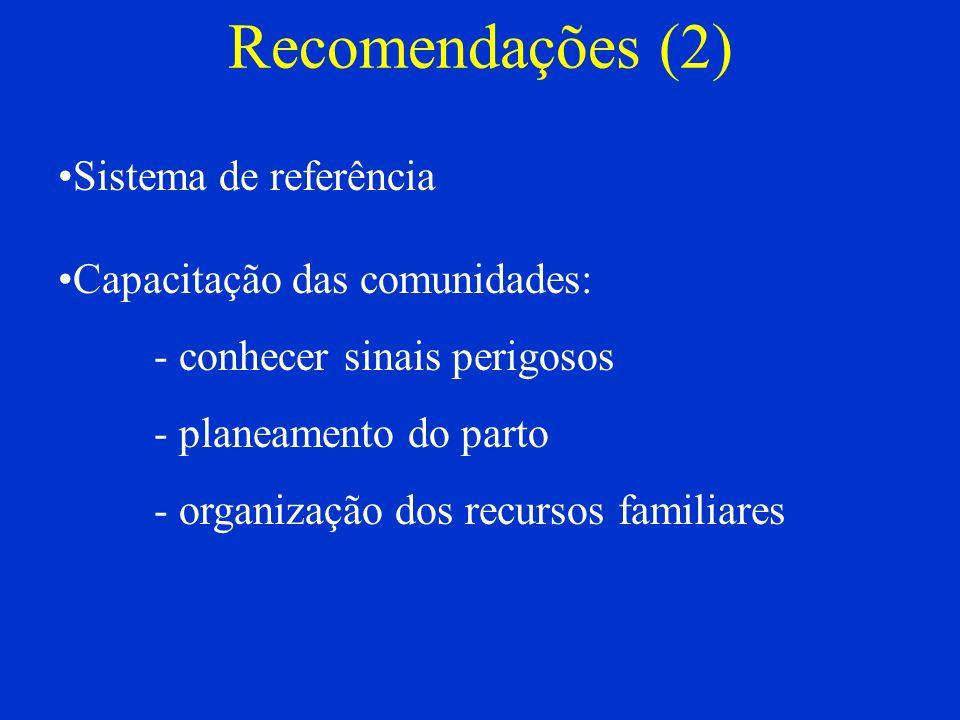Recomendações (2) Sistema de referência Capacitação das comunidades: - conhecer sinais perigosos - planeamento do parto - organização dos recursos fam