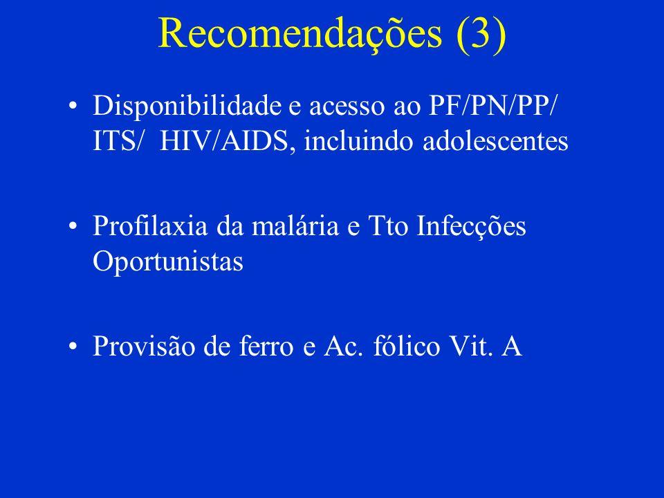 Recomendações (3) Disponibilidade e acesso ao PF/PN/PP/ ITS/ HIV/AIDS, incluindo adolescentes Profilaxia da malária e Tto Infecções Oportunistas Provi