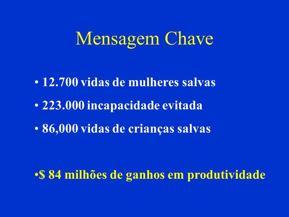 Mensagem Chave 12.700 vidas de mulheres salvas 223.000 incapacidade evitada 86,000 vidas de crianças salvas $ 84 milhões de ganhos em produtividade