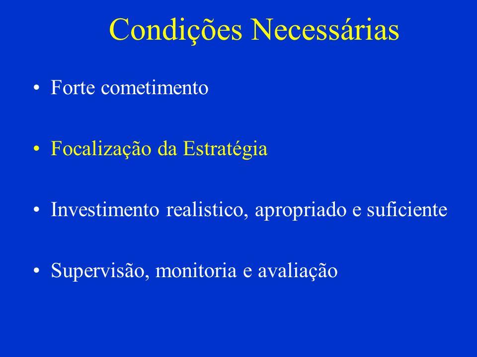 Condições Necessárias Forte cometimento Focalização da Estratégia Investimento realistico, apropriado e suficiente Supervisão, monitoria e avaliação