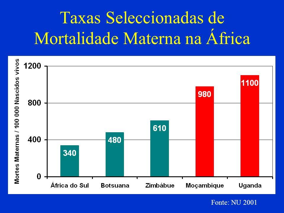 Taxas Seleccionadas de Mortalidade Materna na África Fonte: NU 2001