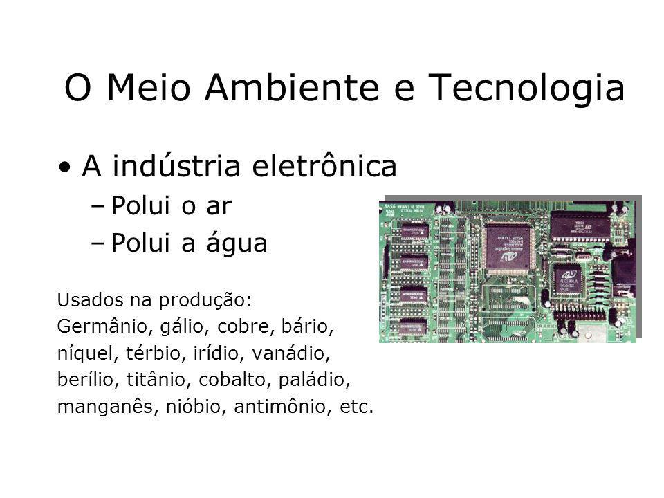 Prof. Hélio L. Costa Jr. O Meio Ambiente e Tecnologia A indústria eletrônica –Polui o ar –Polui a água Usados na produção: Germânio, gálio, cobre, bár