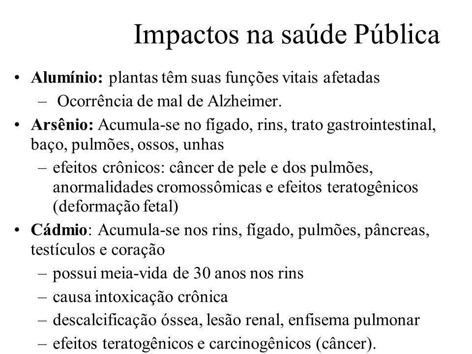 Prof. Hélio L. Costa Jr. Impactos na saúde Pública Alumínio: plantas têm suas funções vitais afetadas – Ocorrência de mal de Alzheimer. Arsênio: Acumu