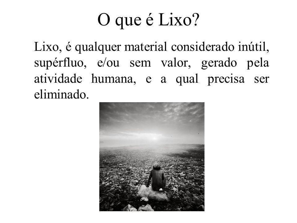 Prof. Hélio L. Costa Jr. O que é Lixo? Lixo, é qualquer material considerado inútil, supérfluo, e/ou sem valor, gerado pela atividade humana, e a qual