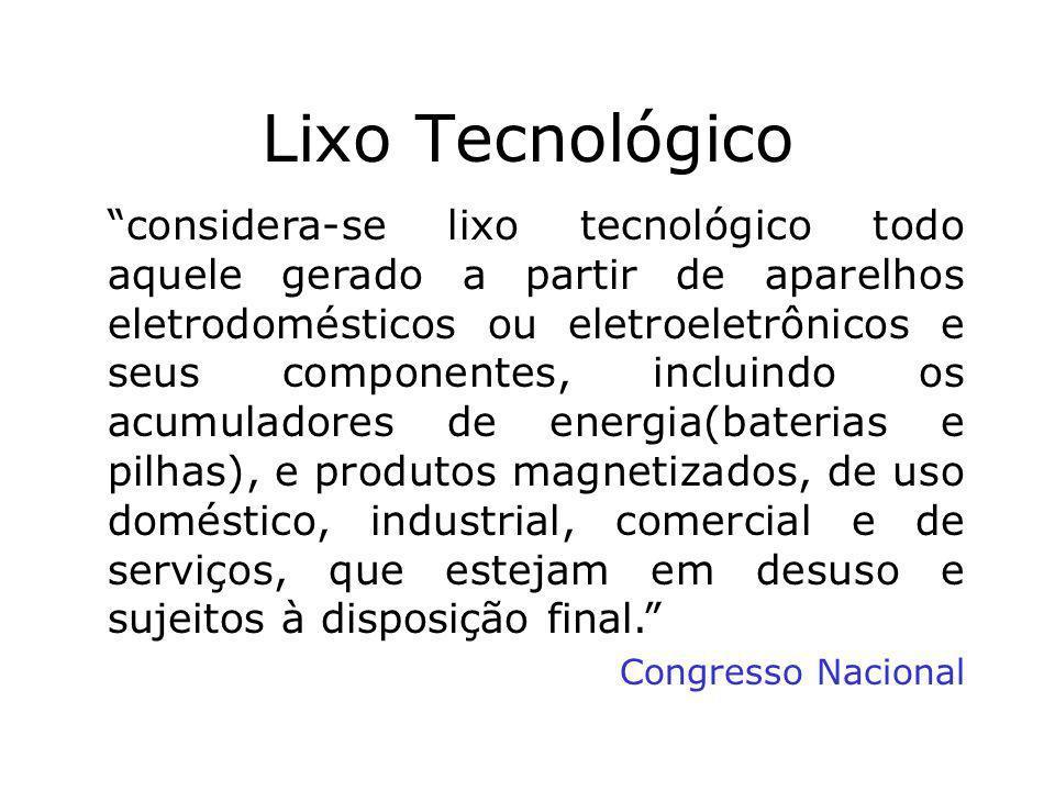Prof. Hélio L. Costa Jr. Lixo Tecnológico considera-se lixo tecnológico todo aquele gerado a partir de aparelhos eletrodomésticos ou eletroeletrônicos