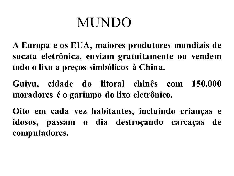 Prof. Hélio L. Costa Jr. MUNDO A Europa e os EUA, maiores produtores mundiais de sucata eletrônica, enviam gratuitamente ou vendem todo o lixo a preço