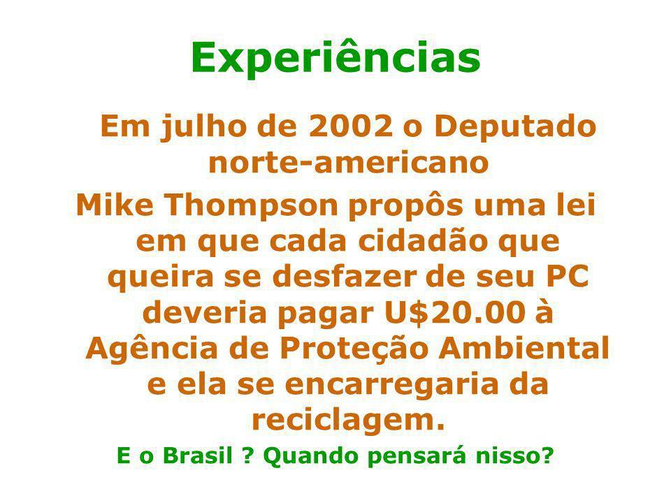 Prof. Hélio L. Costa Jr. Em julho de 2002 o Deputado norte-americano Mike Thompson propôs uma lei em que cada cidadão que queira se desfazer de seu PC