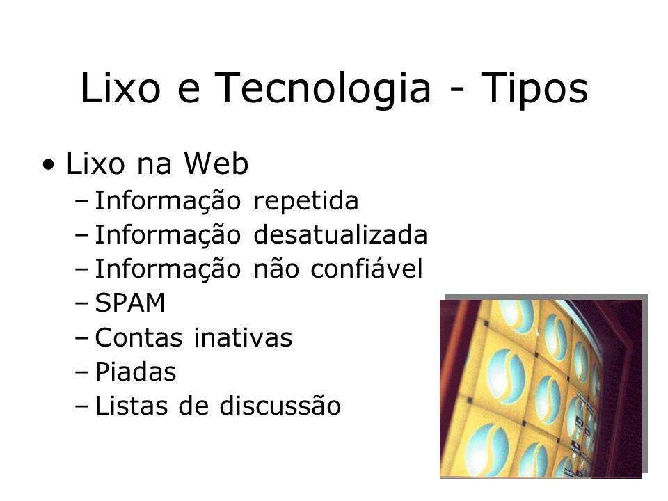 Prof. Hélio L. Costa Jr. Lixo e Tecnologia - Tipos Lixo na Web –Informação repetida –Informação desatualizada –Informação não confiável –SPAM –Contas