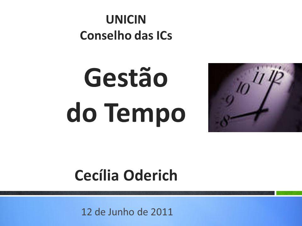 UNICIN Conselho das ICs Gestão do Tempo Cecília Oderich 12 de Junho de 2011