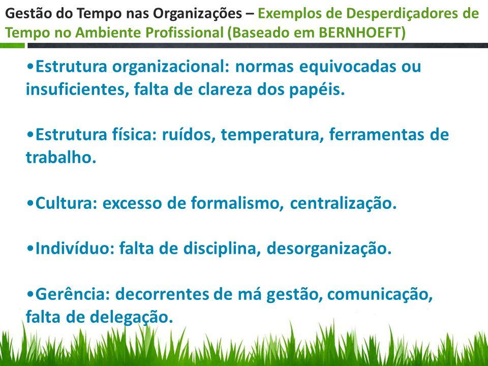 Gestão do Tempo nas Organizações – Exemplos de Desperdiçadores de Tempo no Ambiente Profissional (Baseado em BERNHOEFT) Estrutura organizacional: norm