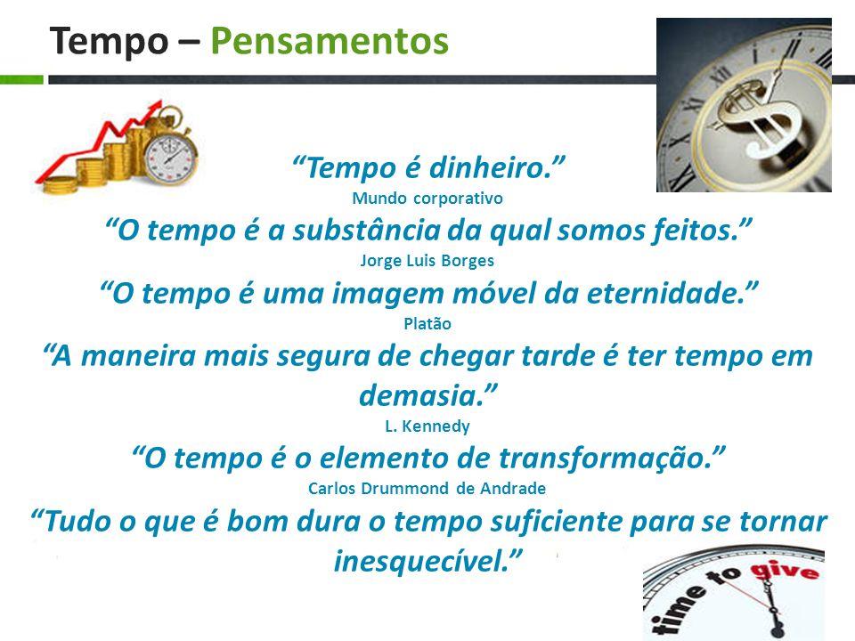 Tempo – Pensamentos Tempo é dinheiro. Mundo corporativo O tempo é a substância da qual somos feitos. Jorge Luis Borges O tempo é uma imagem móvel da e