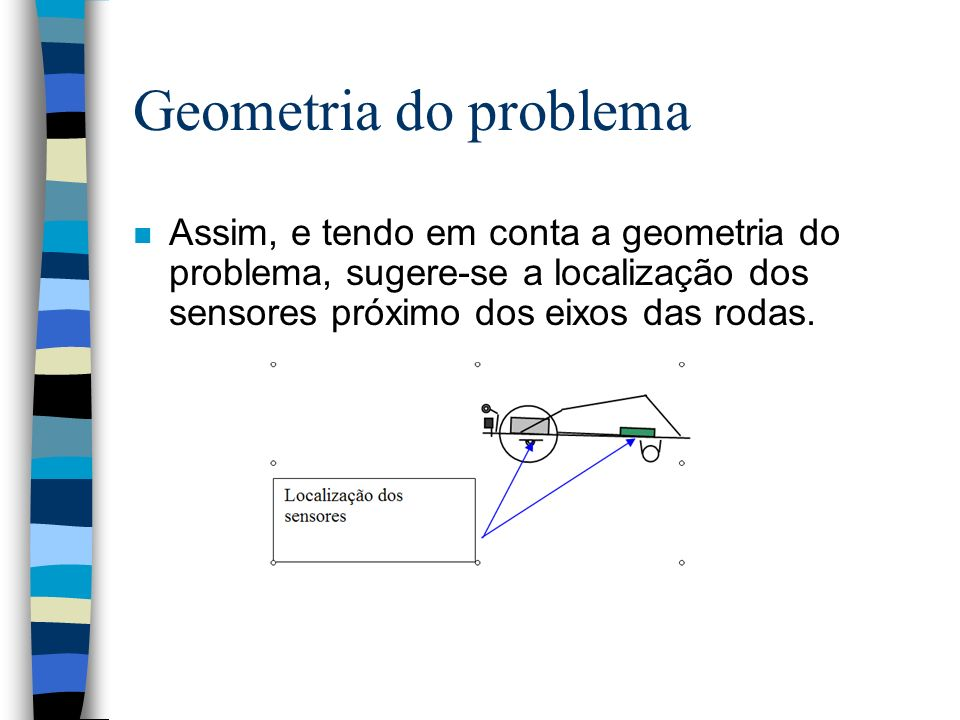 Geometria do problema n Assim, e tendo em conta a geometria do problema, sugere-se a localização dos sensores próximo dos eixos das rodas.