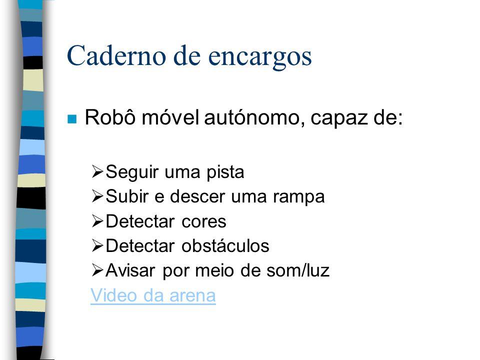Caderno de encargos n Robô móvel autónomo, capaz de: Seguir uma pista Subir e descer uma rampa Detectar cores Detectar obstáculos Avisar por meio de s