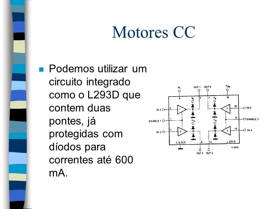 Motores CC n Podemos utilizar um circuito integrado como o L293D que contem duas pontes, já protegidas com díodos para correntes até 600 mA.