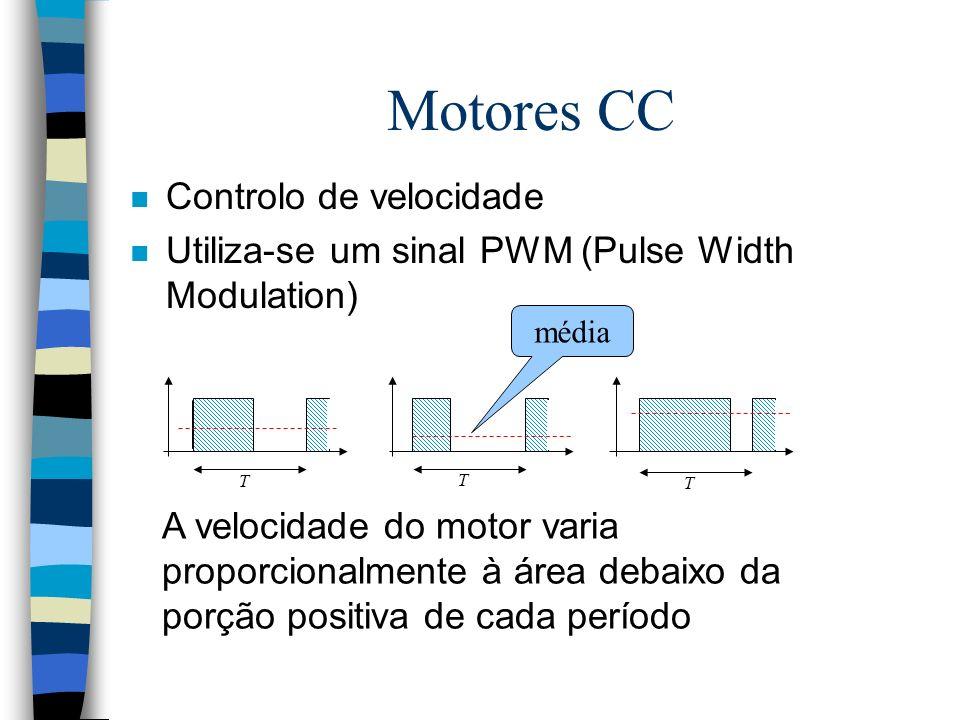 Motores CC n Controlo de velocidade n Utiliza-se um sinal PWM (Pulse Width Modulation) A velocidade do motor varia proporcionalmente à área debaixo da