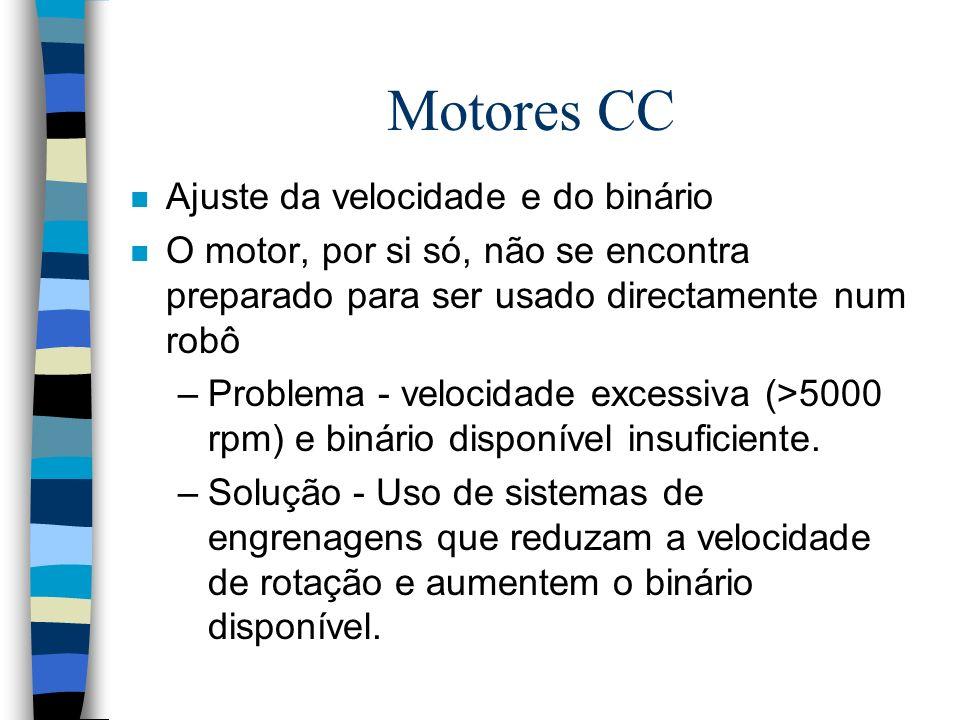 Motores CC n Ajuste da velocidade e do binário n O motor, por si só, não se encontra preparado para ser usado directamente num robô –Problema - veloci