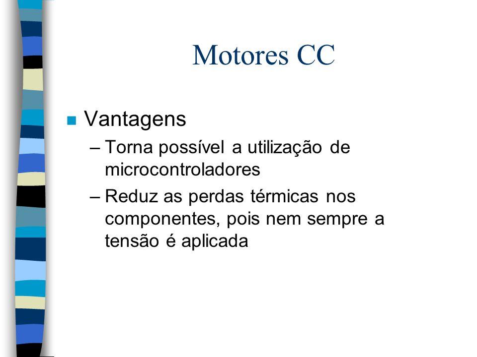Motores CC n Vantagens –Torna possível a utilização de microcontroladores –Reduz as perdas térmicas nos componentes, pois nem sempre a tensão é aplica