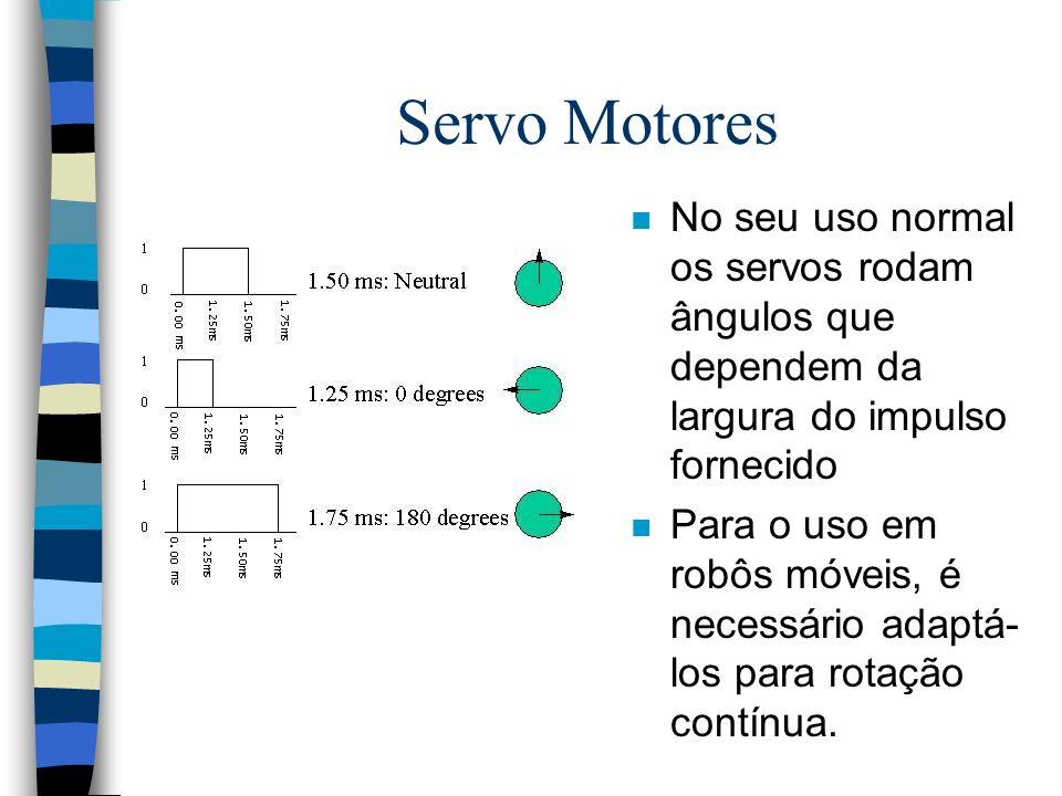 n No seu uso normal os servos rodam ângulos que dependem da largura do impulso fornecido n Para o uso em robôs móveis, é necessário adaptá- los para r