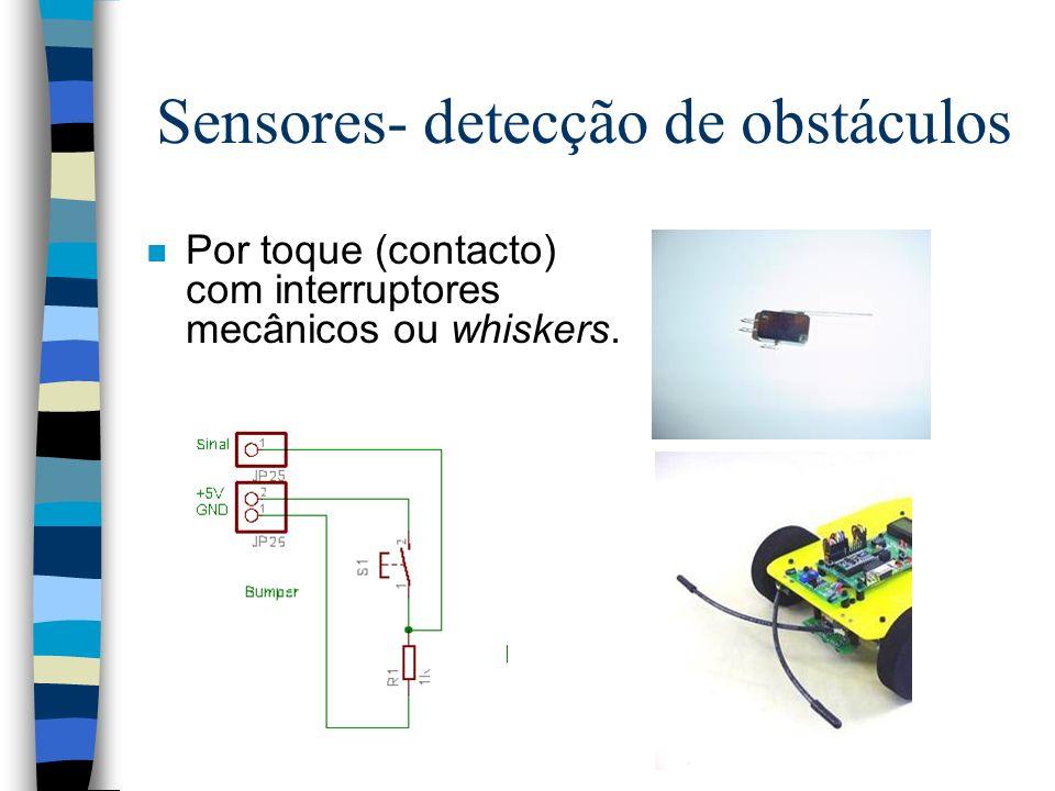 Sensores- detecção de obstáculos n Por toque (contacto) com interruptores mecânicos ou whiskers.